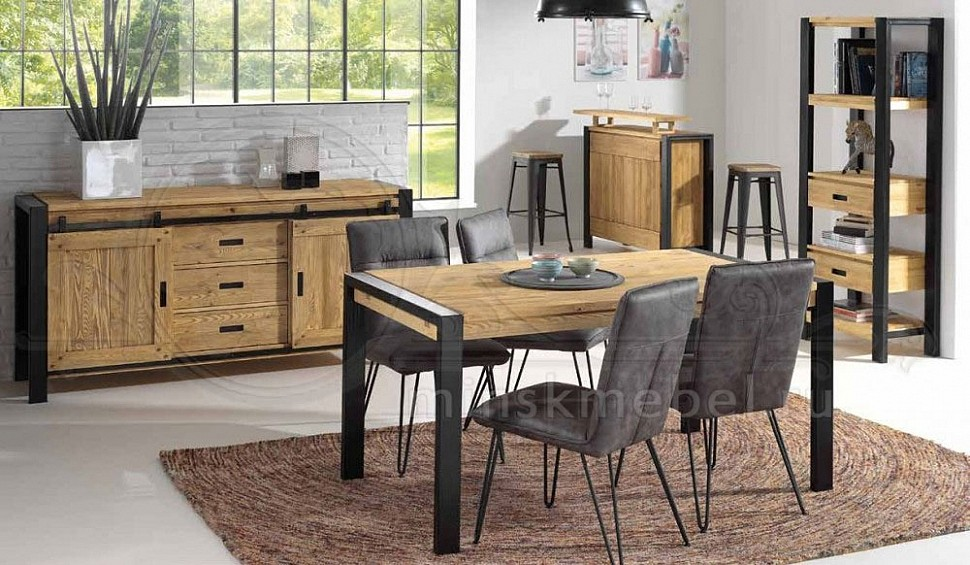 Мебель для гостиной из массива брашированной сосны Лугано