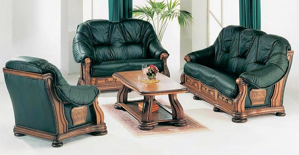 Кожаные диваны и кресло Бордеукс