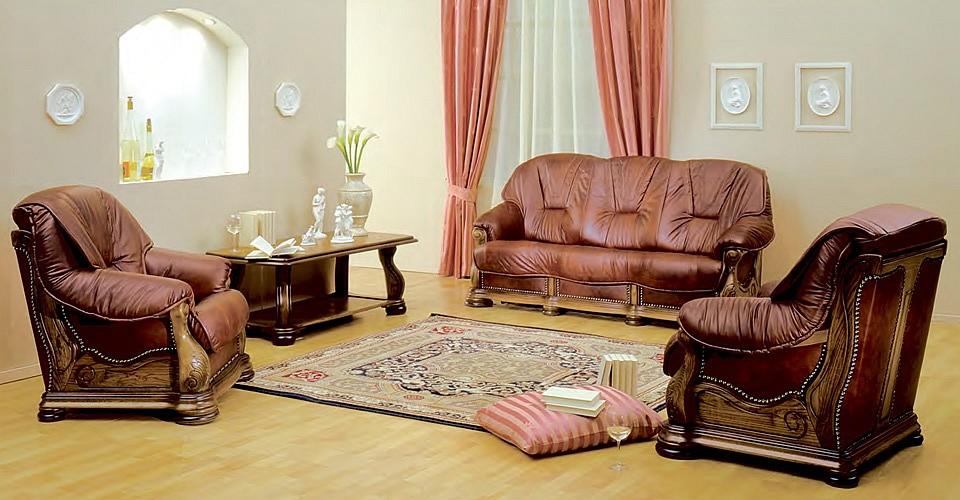 Кожаные диваны и кресло Брюссель